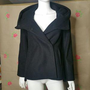 Zara Basic Black Wool Blend Hooded Coat Size XS